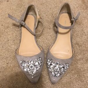 Grey suede flats with embellishment